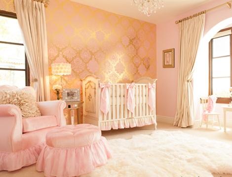 habitacion bebe rosa dorado