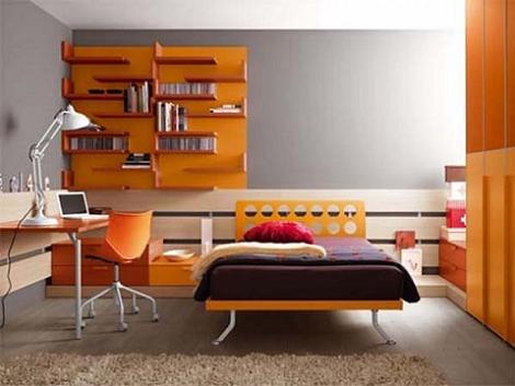 Habitación juvenil naranja