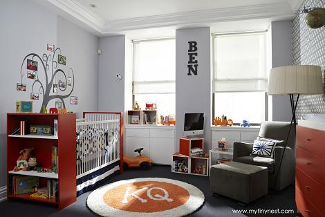 Habitación naranja y gris