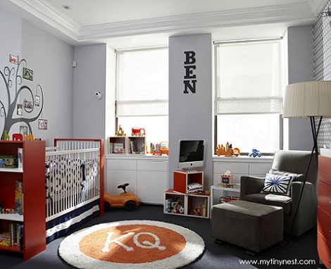 habitaciones bebe niño naranja