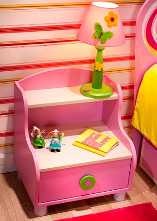 mesita noche niños rosa