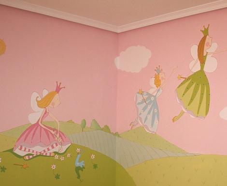 mural infantil princesas
