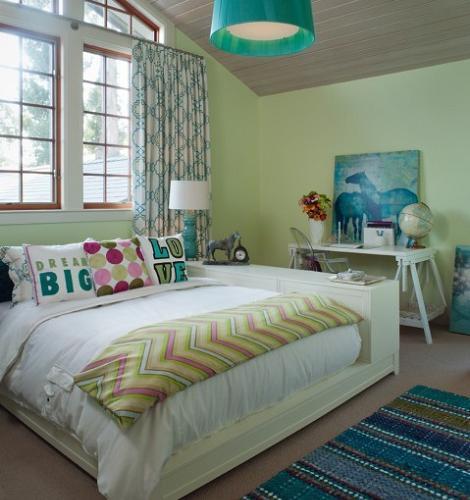 Dormitorio verde juvenil