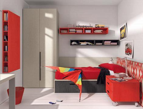 Dormitorio juvenil rojo