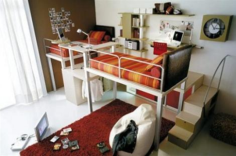 Dormitorio juvenil con camas altas