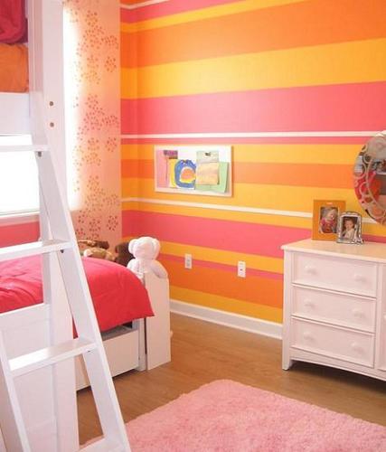 Dormitorio naranja de rayas