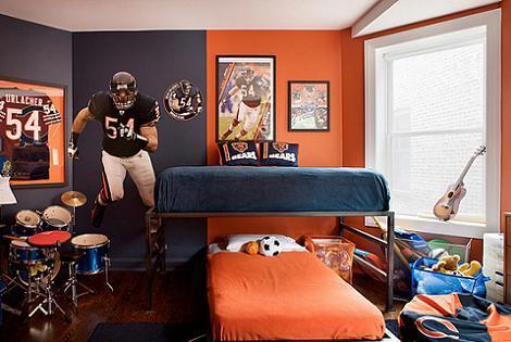 Dormitorio de niños naranja