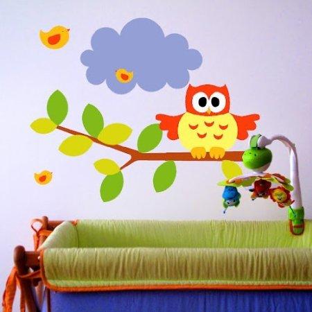 vinilos buho habitacion bebe colorines