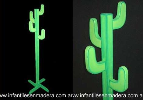 perchero infantil cactus